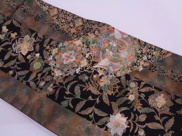 【IDN】 縞に鳳凰・草花模様織出し袋帯【リサイクル】【中古】【着】