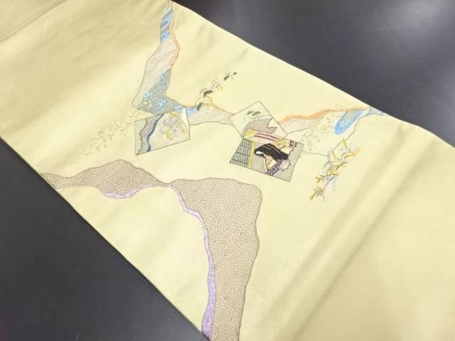 【IDN】 引き箔色紙に十二単・松模様刺繍袋帯【リサイクル】【中古】【着】