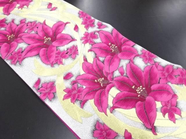 【IDN】 金銀糸リボンに花模様織り出し袋帯【リサイクル】【中古】【着】