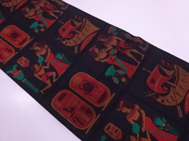 【IDN】 纐纈格子に壁画模様織出し袋帯【リサイクル】【中古】【着】