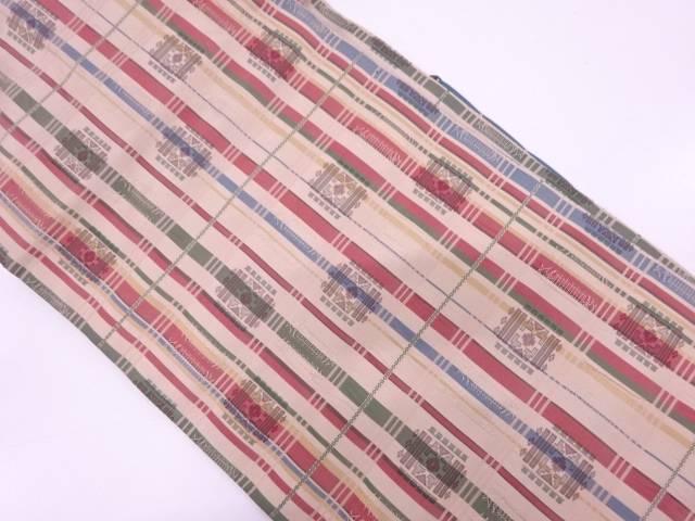 【IDN】 格子に抽象花模様織出し名古屋帯【リサイクル】【中古】【着】