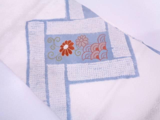 【IDN】 絞り花唐草に青海波模様刺繍名古屋帯【リサイクル】【中古】【着】