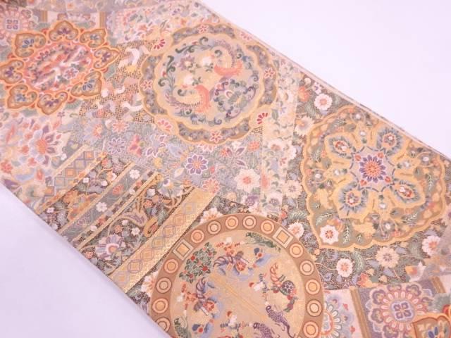 【IDN】 橋本織物製 切り嵌め風花鳥模様織出し袋帯【リサイクル】【中古】【着】