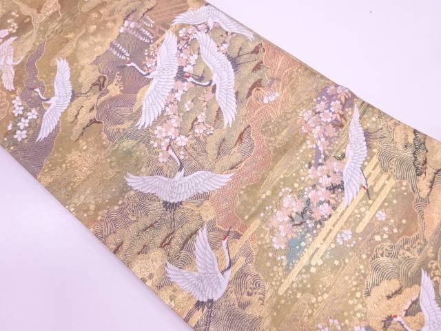 【IDN】 群鶴に松梅・草花模様織出しリバーシブル袋帯【リサイクル】【中古】【着】