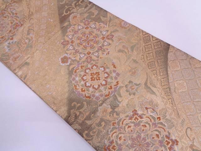 【IDN】 変わり縞に華文模様織出し袋帯【リサイクル】【中古】【着】
