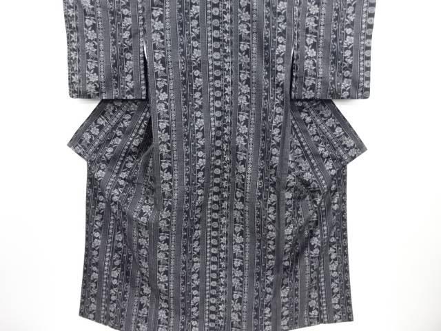 【IDN】 花縞模様織り出し本真綿結城紬80亀甲着物【リサイクル】【中古】【着】