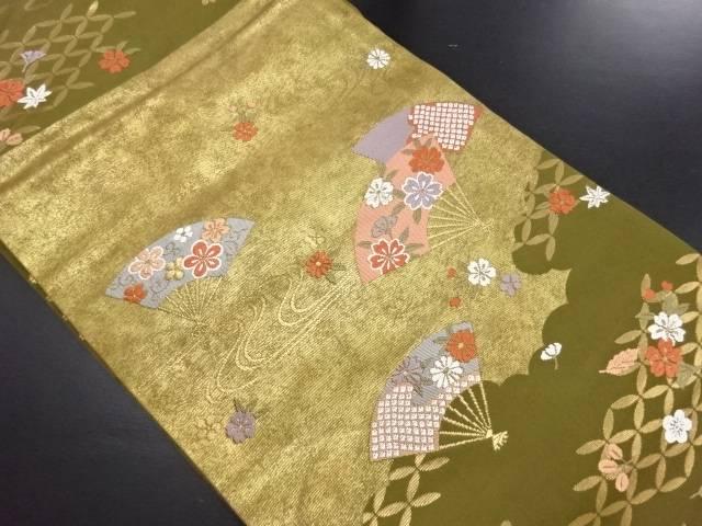 【IDN】 本金唐織扇面に桜菊模様織り出し名古屋帯【リサイクル】【中古】【着】