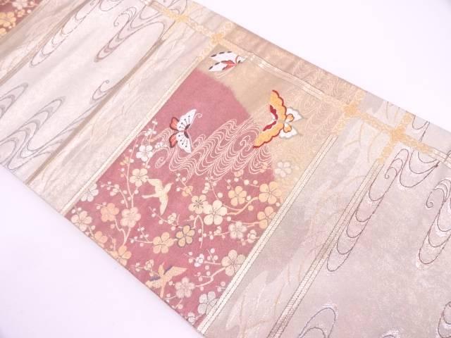 【IDN】 格子に蝶・枝梅模様織出し袋帯【リサイクル】【中古】【着】