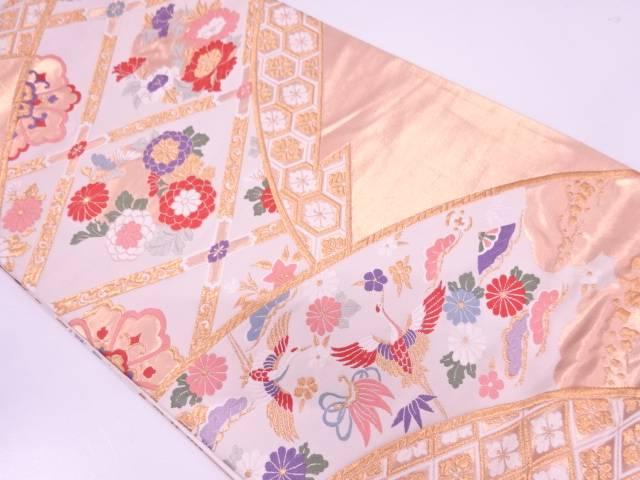 【IDN】 格天井に花鳥模様織出し袋帯【リサイクル】【中古】【着】