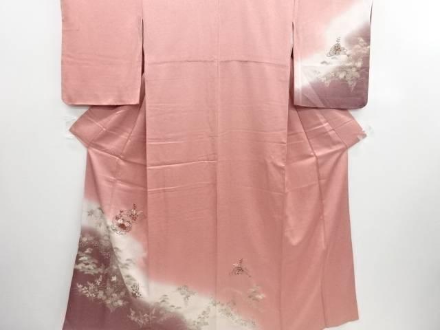 【30%OFF】【IDN】 金彩雪輪に菊橘松模様刺繍訪問着【リサイクル】【中古】【着】