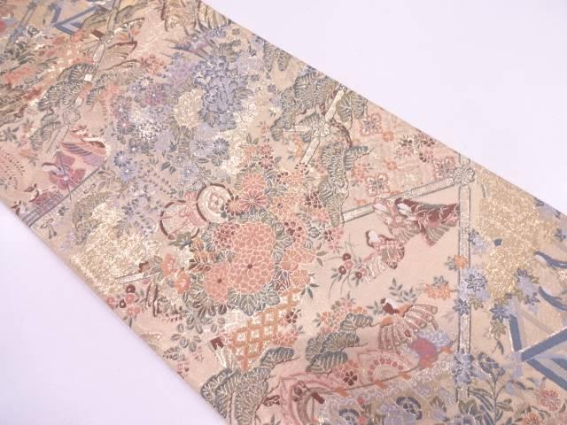 【IDN】 草花に時代人物模様織出し袋帯【リサイクル】【中古】【着】