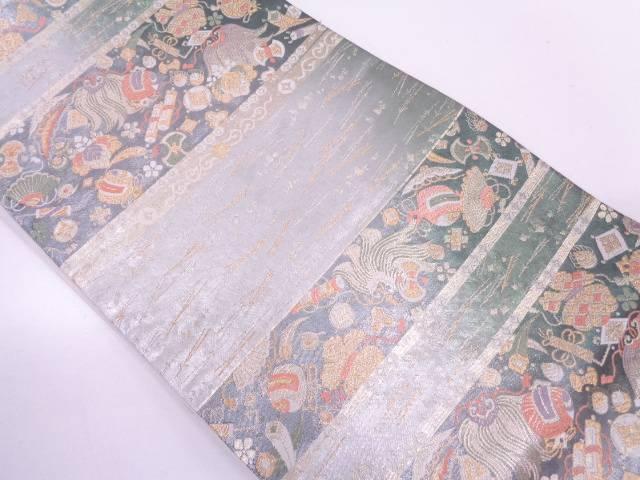 【IDN】 浅田叡一製 横段に草花模様織出し袋帯【リサイクル】【中古】【着】