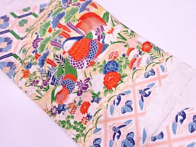 【IDN】 鴛鴦に松・草花模様織出し袋帯【リサイクル】【中古】【着】