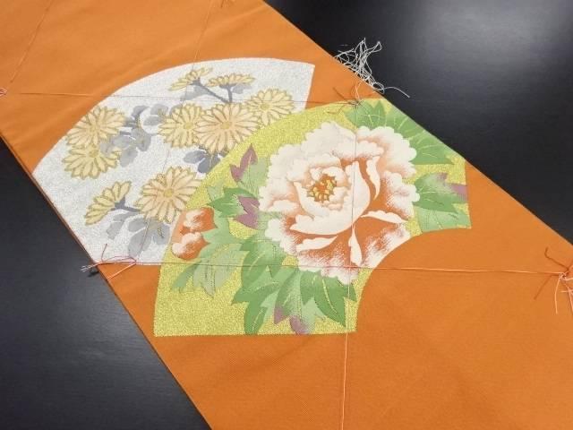 【IDN】 未使用品 綴れ地紙に牡丹・菊模様織り出し名古屋帯【リサイクル】【着】