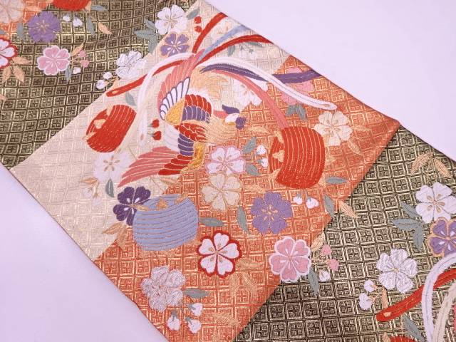 【IDN】 鳳凰に糸巻・桜模様織出し袋帯【リサイクル】【中古】【着】