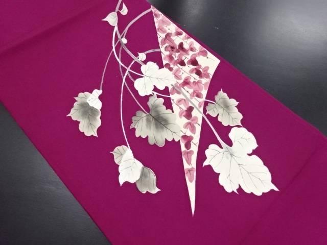 【IDN】 塩瀬 手描き蔦の葉模様開き名古屋帯(額縁仕立て)【リサイクル】【中古】【着】