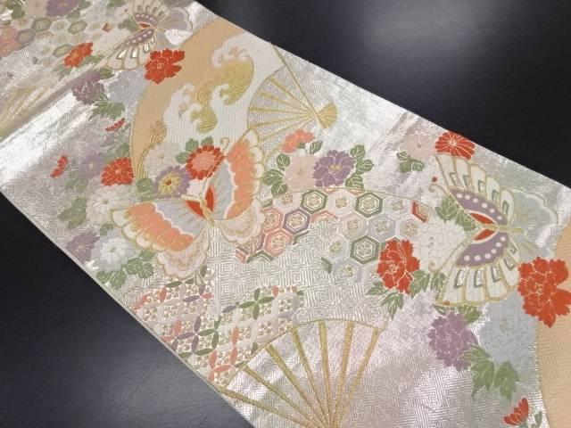 【IDN】 佐賀錦蝶に花扇模様織り出し袋帯【リサイクル】【中古】【着】