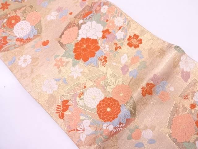 【IDN】 未使用品 糸巻きに草花模様織出し袋帯【リサイクル】【着】