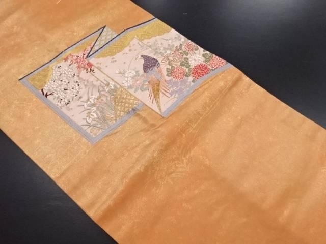 【IDN】 未使用品 屏風に花鳥模様織り出し名古屋帯【リサイクル】【着】