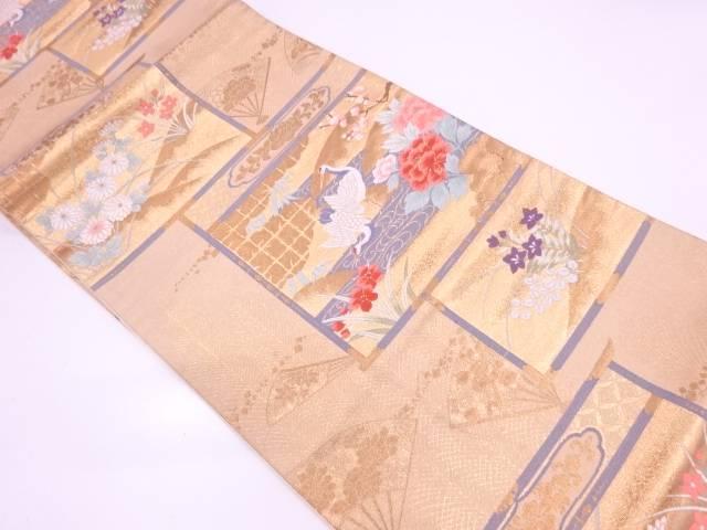 【IDN】 鶴に草花模様織出し袋帯【リサイクル】【中古】【着】
