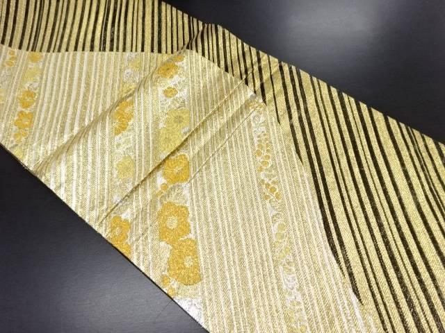 【IDN】 本金斜め縞に辻ヶ花模様織り出し全通袋帯【リサイクル】【中古】【着】