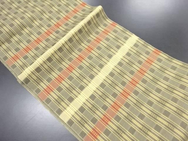 【IDN】 格子織り出し名古屋帯【リサイクル】【中古】【着】