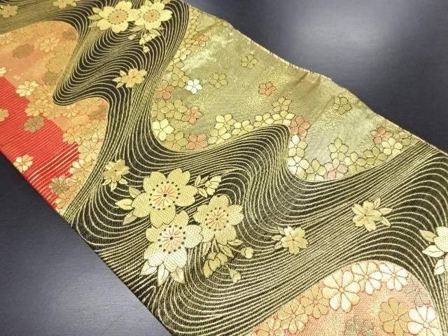 【IDN】 流水に桜模様織り出し全通袋帯【リサイクル】【中古】【着】