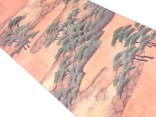 【IDN】 笠松に青海波模様刺繍袋帯【リサイクル】【中古】【着】