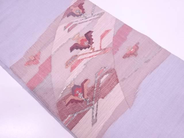 【IDN】 すくい織抽象花鳥模様織出し袋帯【リサイクル】【中古】【着】