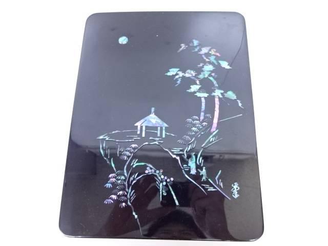 【IDN】 硯箱 貝飾り 山水柄【中古】【道】