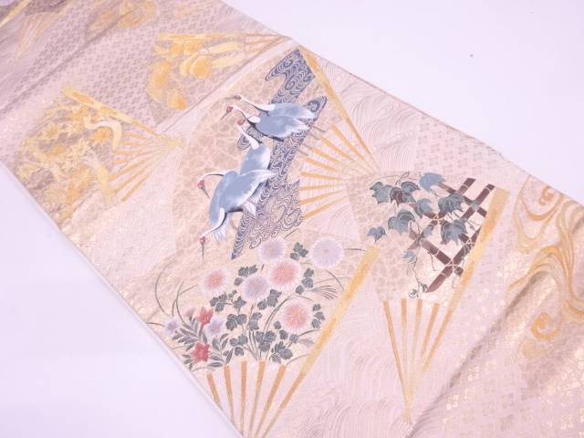 【IDN】 本金箔扇面に花鳥模様織出し袋帯【リサイクル】【中古】【着】