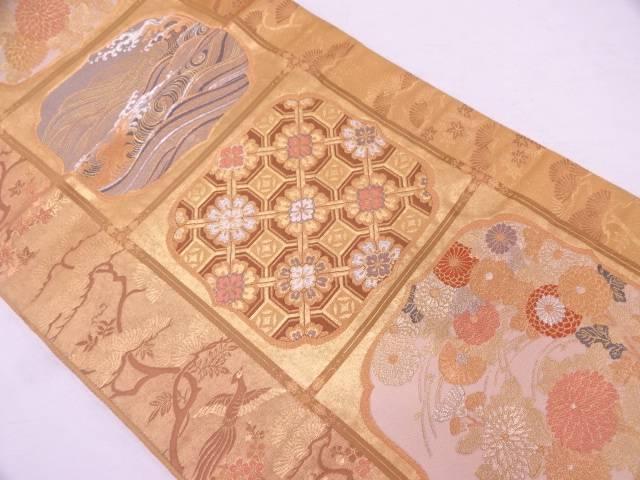 【IDN】 帯匠山下製 本金箔格天井蒔絵紋織出し袋帯【リサイクル】【中古】【着】