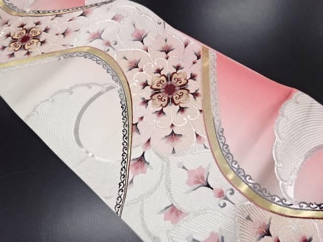 【IDN】 金銀糸流水に華紋模様織り出し袋帯【リサイクル】【中古】【着】