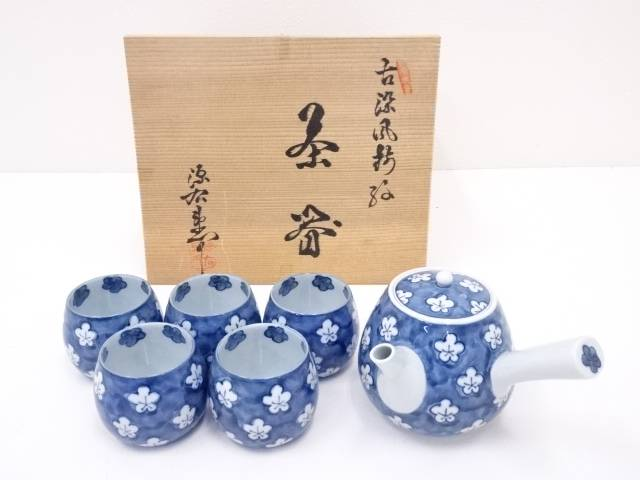 【IDN】 有田焼 源右衛門窯造 古染風梅絵茶器セット【中古】【道】