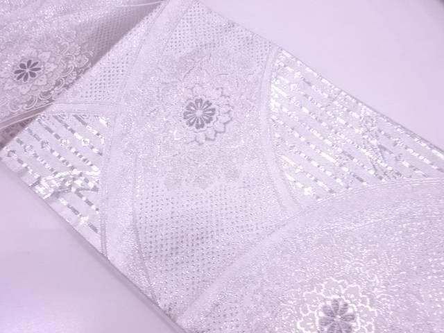 【IDN】 未使用品 プラチナ銀箔二重織変わり青海波に華紋模様織出し袋帯【リサイクル】【着】