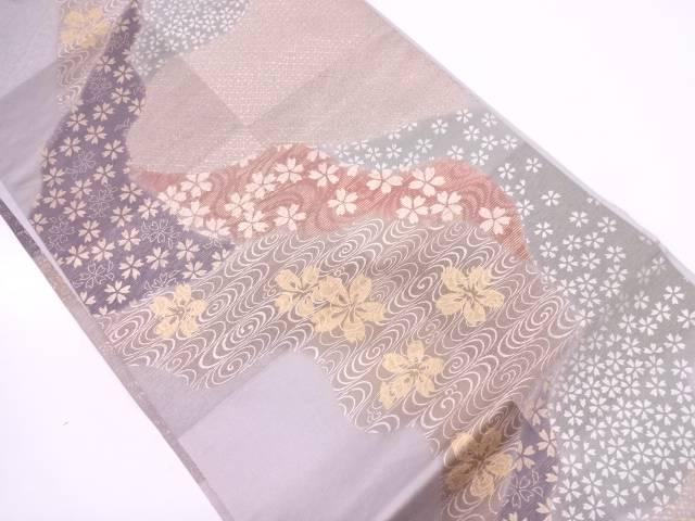 【IDN】 流水に桜模様袋帯【リサイクル】【中古】【着】