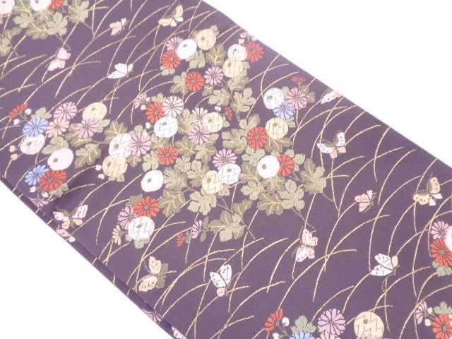 【IDN】 蝶に菊模様織出し袋帯【リサイクル】【中古】【着】