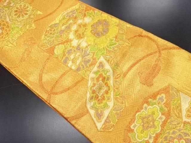 【IDN】 佐賀錦貝桶に牡丹模様織り出し袋帯【リサイクル】【中古】【着】