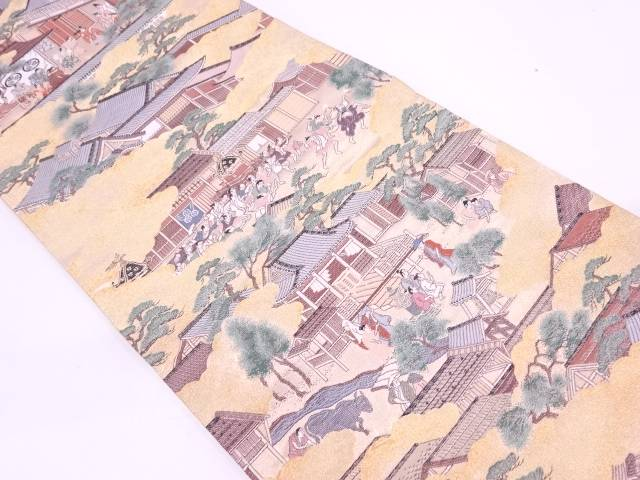 【IDN】 時代人物風景模様織出し全通袋帯【リサイクル】【中古】【着】