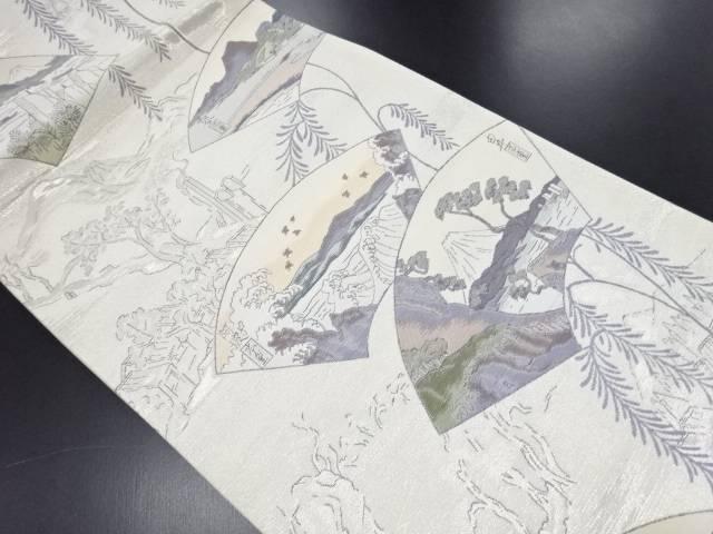 【IDN】 銀糸地紙に東海道五十三次模様織り出し袋帯【リサイクル】【中古】【着】