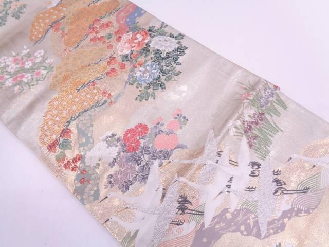 【IDN】 笠松に群鶴・草花模様織出し袋帯【リサイクル】【中古】【着】