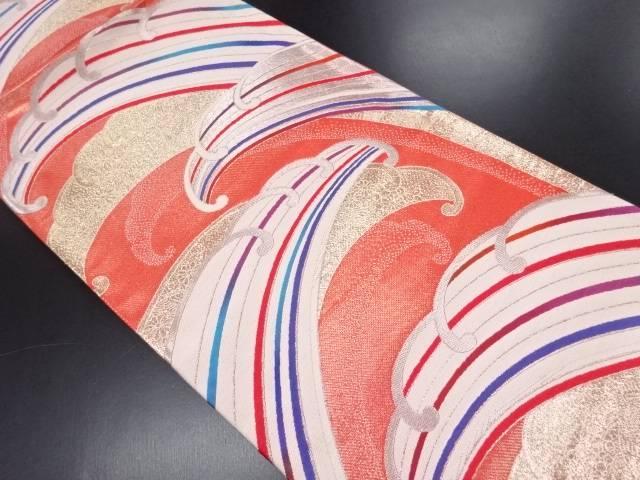【IDN】 未使用品 いづくら製 金銀糸波に花鳥模様織り出し袋帯(未仕立て)【リサイクル】【着】