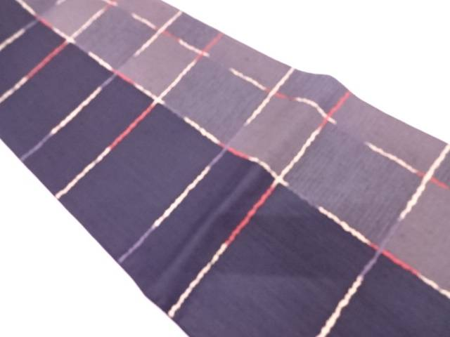 【IDN】 未使用品 変わり格子模様織出し袋帯【リサイクル】【着】
