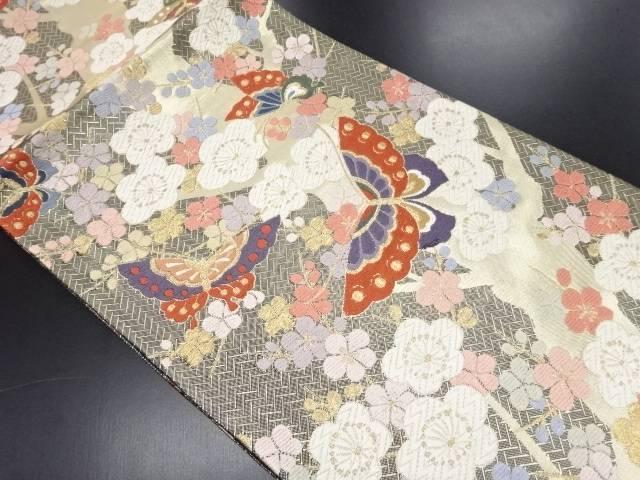 【IDN】 未使用品 本金唐織蝶に枝梅模様織り出し袋帯(未仕立て)【リサイクル】【着】