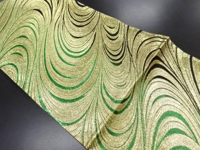 【IDN】 金糸流水模様織り出し全通袋帯【リサイクル】【中古】【着】