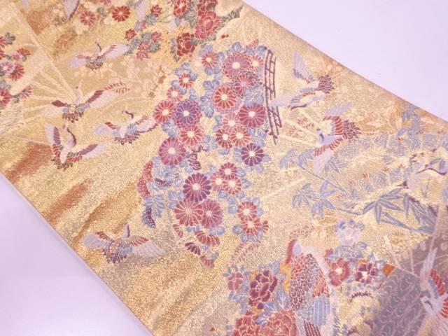【IDN】 未使用品 扇面に橋・花鳥模様織出し袋帯 【リサイクル】【着】