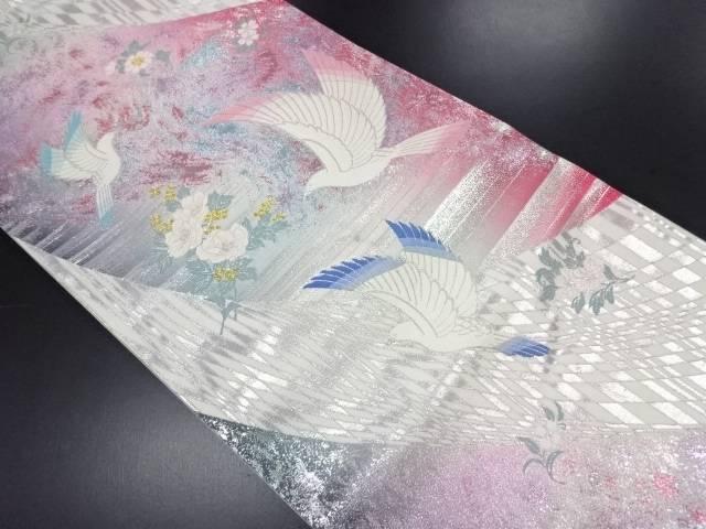 【IDN】 鳩に花模様織り出し袋帯【リサイクル】【中古】【着】