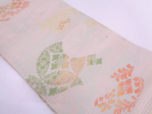 【IDN】 川島織物製 絽荒波に草花模様織出し丸帯【大正ロマン】【中古】【着】