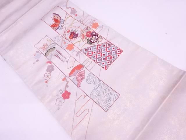 【IDN】 未使用品 引箔短冊に蝶・松梅模様刺繍袋帯【リサイクル】【着】