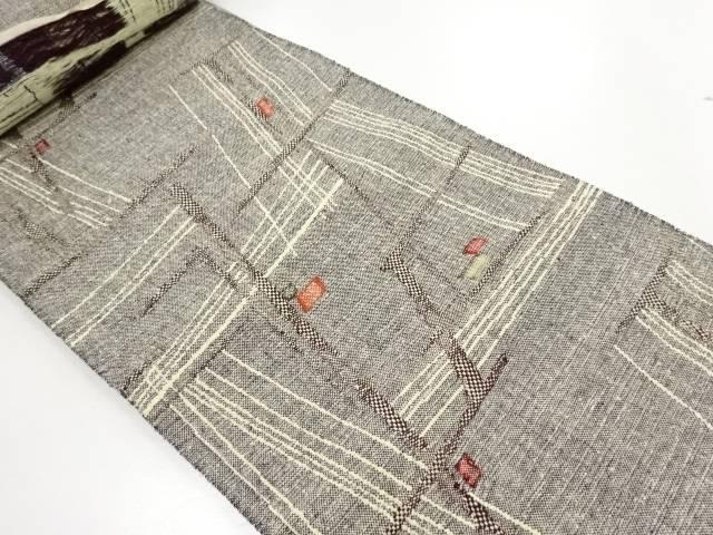 【IDN】 三幸織物製 手織り真綿紬乱れ格子織り出し名古屋帯地反物【リサイクル】【中古】【着】